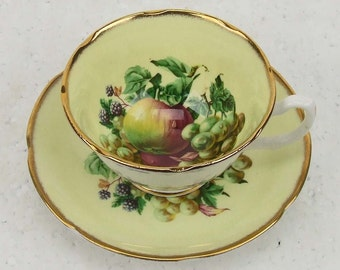Vintage Royal Grafton England Fine Bone China Bountiful Fall Fruits Patterns Pear Black Berries Gold Gilt Chintz Numbered Teacup ATCTTEAM