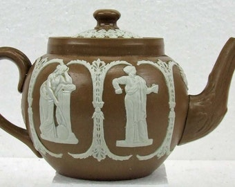 Antique Dudson Brothers England Brown White Jasperware Jasper Ware Drab Ware Drabware Grecian Wedgwood Style Teapot Hanley England 1896