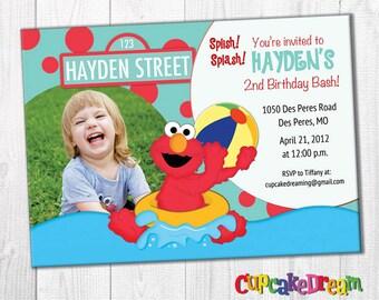 Elmo Invitation Pool Party Birthday