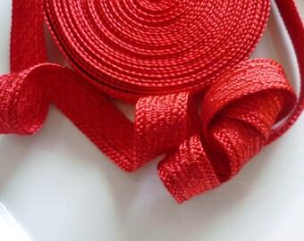 SALE Art silk Moroccan trim, red , textured trim,  5 metres