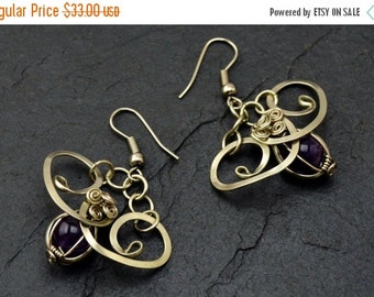 ON SALE Amethyst Earrings, Wire Wrap Earrings, Silver Dangle Earrings, Purple Earrings, Gemstone Earrings, Art Nouveau Earrings, Elegant Ear