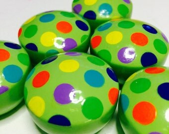 "CABINET HARDWARE 1.50"" Lime Green Cabinet Knobs Multi-Color Polka Dots Drawer Pulls"