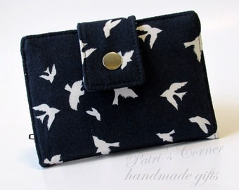 Handmade women wallet - small and slim - Small white birds on navy - ID clear pocket - ready to ship - gifts ideas for her