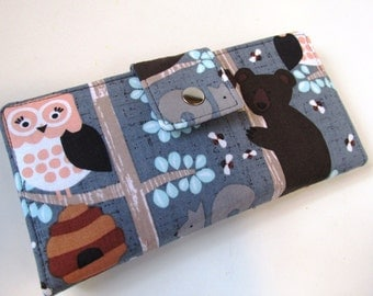 Handmade women wallet clutch - The bear, the owl, bees and squirrel on the branches of the tree! - Ready to ship - Gift ideas for her