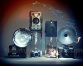 Old Cameras, digital photo art,  aged photo,  home decor, paper wall art, office art, gift, camera art, many cameras, ansco, brownie