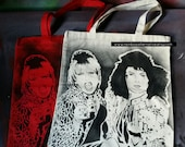 AbFab Eddie and Patsy tote bag stencil and spray paint art by Rainbow Alternative on Etsy Absolutely Fabulous