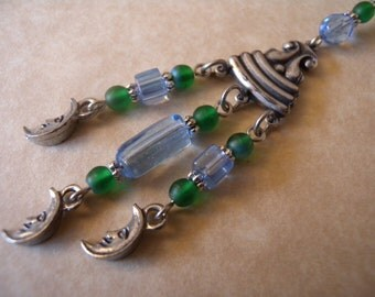 Pewter Scroll and Triple Moons Earrings in Blue and Green