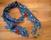beaded scarf, hairband bandana, blue