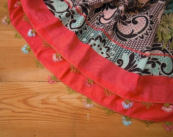 turkish scarf, oya scarf, needle lace trim, coral red