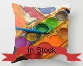 "14"" Bright Pillow Cover, Gift for Artist Throw Cushion, Royal Blue, Aurora Red, Freesia, Paint Brush, Orange, Green, Studio Lounge Decor"