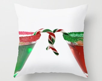 Red and Green Holiday Cushion Covers, Modern Christmas Pillow Covers, 14x14, 16x16, 18x18, 20x20, 22x22, 24x24, 26x26, 28x28, 30x30 Inches