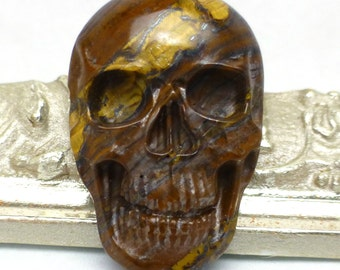 Tiger Eye Hematite Cabochon Skull Opaque Handmade Carved Halloween Day of the Dead Biker One of a kind Carving
