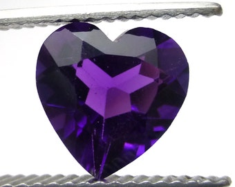 Amethyst Heart 10mm Natural Deep Purple Loose Gem Stone Faceted Handmade AAA Quality February Birthstone Perfect for a Ring