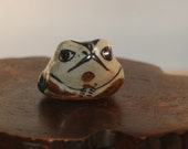 Jorge Wilmot Tonala Stoneware Miniature Frog / Toad Rattle ~ signed on base underlined W and 4 spots ~ Mexican Folk Art Excellent Condition