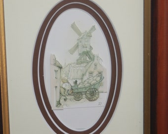 Anton Pieck, Holland, 3D Diorama Layered Art Cut Paper ~ Sweet Windmill, Cottages & Farmer w/ Cart Collectible Paper Scene Framed Art