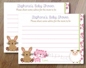 Dreams, Baby Shower Advice Cards Set of 12, Baby Shower or Bridal Shower, Sheep Baby Shower, Bunny Baby Shower, Printed Advice Cards