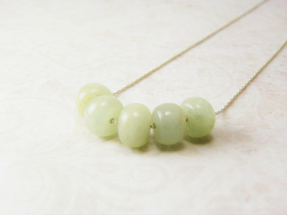 Moss Aquamarine Necklace /   March Birthstone  / Sterling  Silver  /  Simple Minimal
