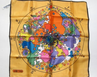 Vintage 60s Peter Max Age of Aquarius Psychedelic Yellow Zodiac Square Scarf