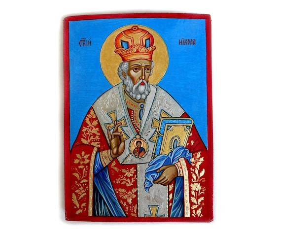 Saint Nicholas original icon, Santa Claus painting, Sinterkaas, Original on wood, 8 x 6 inches