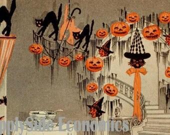 Vintage Halloween Decorations - Black Cats & Jack O Lanterns - Halloween Party - Black Cats - Vintage Halloween - Digital Download Set of 2