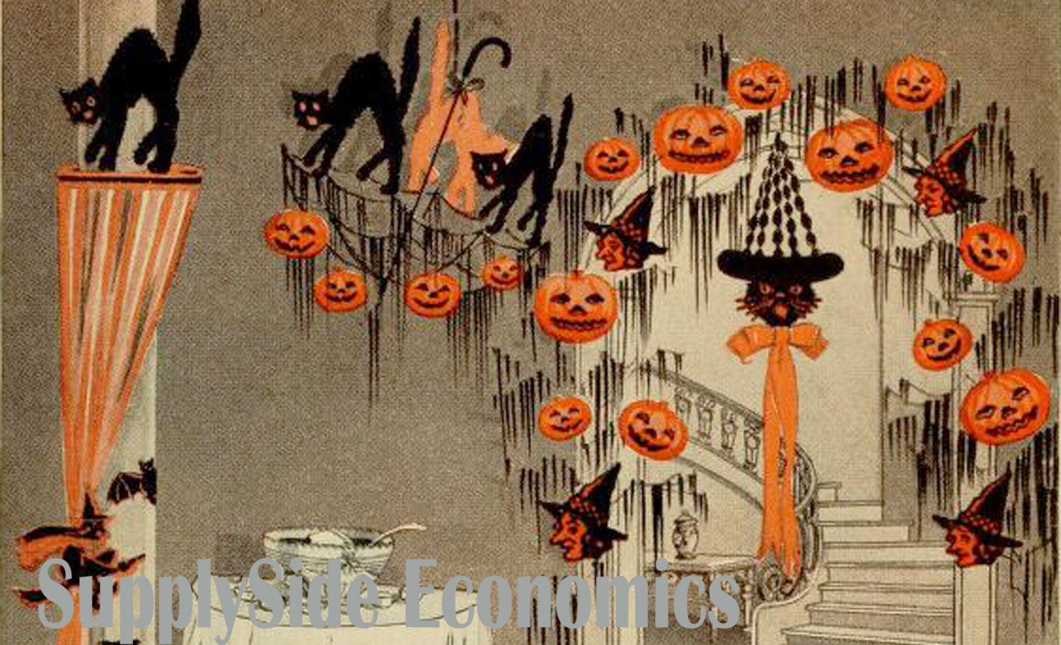 Vintage halloween decorations black cats by for Antique halloween decoration