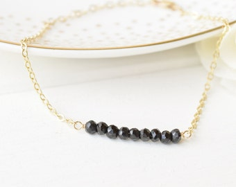 Black Spinel Gemstone Bar Bracelet - Layering - Sterling SIlver & 14k Gold Filled