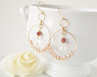 Princess Hoops with Gold, Pearls, & Pink Tourmaline