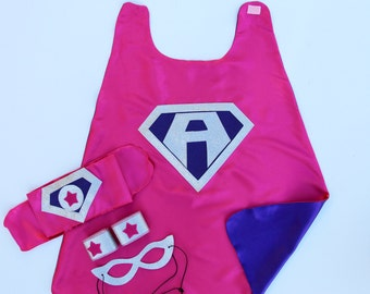 SUPERHERO COSTUME SET - Personalized Girls Super hero - Includes cape with child's initial - 3 accessories - wrist bands - hero belt - mask