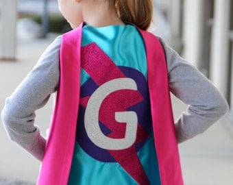 GIRLS Personalized Sparkle Superhero Cape with custom initial - High quality sparkle design - Christmas gift