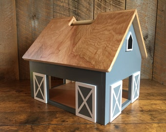 Kids Hardwood Toy Barn with Handle