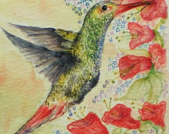 Hummingbird Miniature Greeting Card Picture Watercolor Painting Flowers Birds
