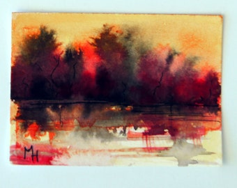 Abstract Original landscape ACEO painting - Mini art trading card, original ATC, 2.5 by 3.5 in - Lake Sunset 7 - watercolour, Free Shipping
