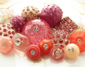 Vintage Pink Rhinestone Button Destash Mix Plastic and Metal – 14 Button Lot