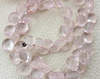 Brand New,Full 8 Inch Long Strand, Amazing Quality Natural Rose Quartz Heart Briolettes, 7-8 Long,Great Quality at Low Price