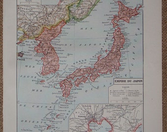 Vintage JAPAN Map printed in 1922 an original ANTIQUE French map