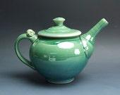Handmade pottery teapot stoneware tea pot 48 ounce jade green 3553