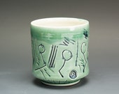 Sale - Handcrafted porcelain tea cup tea bowl jade green Japanese yunomi 14 oz. 2579