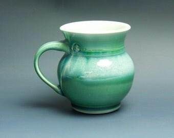 Pottery coffee mug, ceramic mug, porcelain tea cup jade green 16 oz 3426
