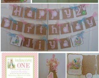 Peter Rabbit 1st Birthday  Supreme Package Beatrix  Potter bunny  Easter 1st birthday party decorations baby shower birthday burlap banner