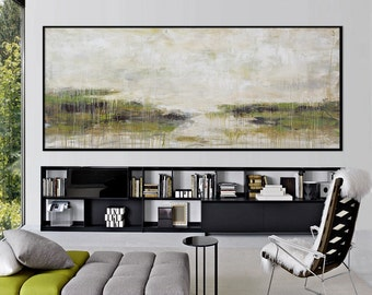 Original landscape Abstract Painting acrylic green large fine art Painting on canvas 72x30 Elena