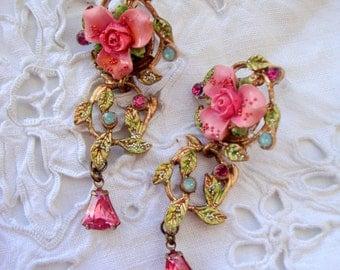 Vintage earrings romantic flower