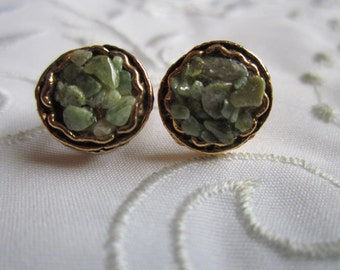 Vintage Gold Tone Small Clip On Earrings with Green Stone Chips