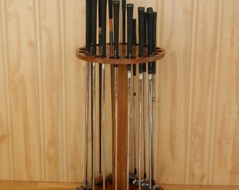 Golf club display rack. ROTATING, 16 club Oak wood. Beautiful. Made In USA