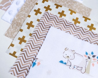 "42 - 6"" Squares of Flannel, Cotton & Minky for Gender Neutral Baby Quilt Top or Rag Quilt Top White, Tan and Metallic Gold Neutral Quilt"