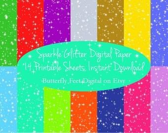 Sparkle Glitter Digital Paper, Card Making, Scrapbooking, 14 Printable Sheets, Instant Download