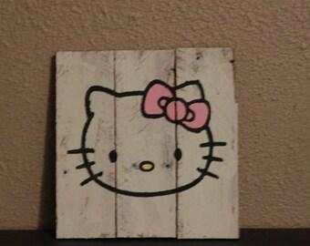 Hello Kitty wood pallet sign