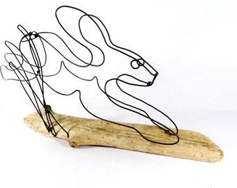 Rabbit Wire Sculpture, Bunny Sculpture, Rabbit Art, Folk Art,