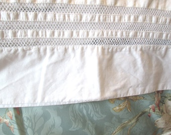 Vintage Queen Flat Sheet and Pillowcase, White, Cut Lace Edge, Cotton