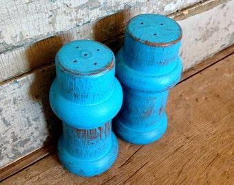 Turquoise Salt and Pepper Shaker Set Painted Teak Wood Distressed