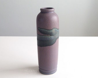 Vintage Purple Drip Glaze Cylinder Vase Mid Century Modern